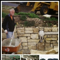 Custom retaining wall with added featurs